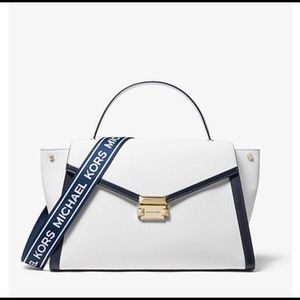 Whitney Large Logo Pebbled Leather Satchel